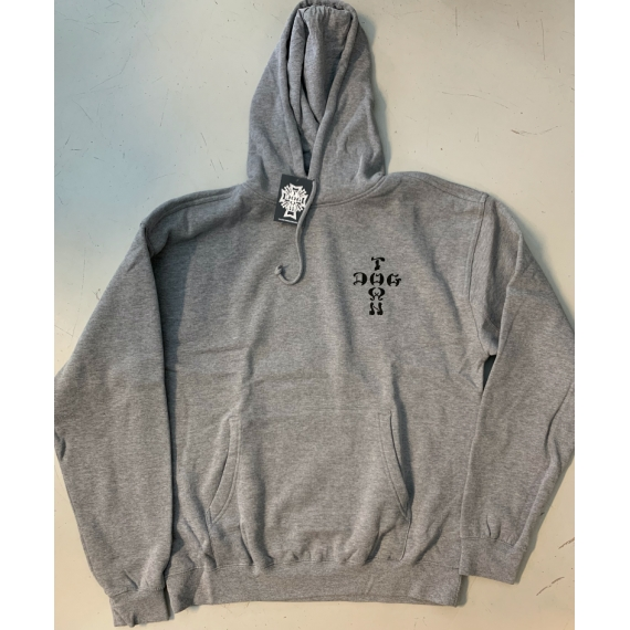 Dogtown Hooded Sweatshirt Cross Logo Heather Grey